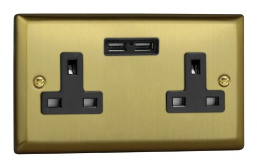 Varilight XY5U2B.BB Urban Brushed Brass 2 Gang Double 13A Unswitched Plug Socket 2.1A USB